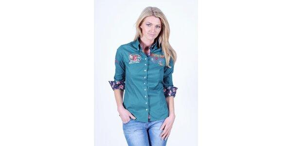 Dámská zelená košile s květinovým dekorem Pontto