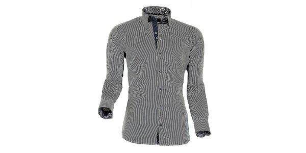 Pánská modro-bílá proužkovaná košile z Premium kolekce Pontto