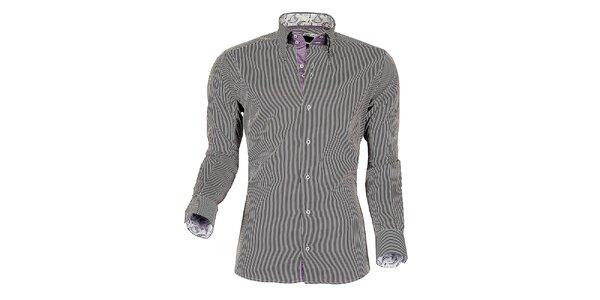 Pánská fialovo-bílá proužkovaná košile z Premium kolekce Pontto
