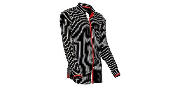 Pánská černo-bílá proužkovaná košile s červenými detaily Pontto