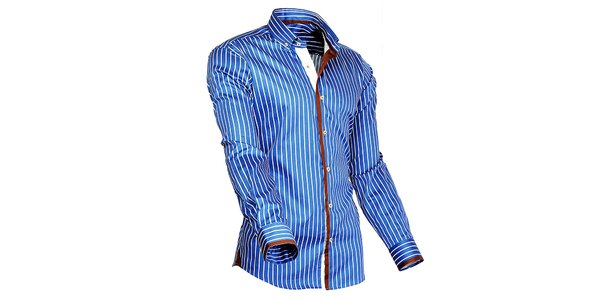 Pánská modro-bílá proužkovaná košile s oranžovými detaily Pontto