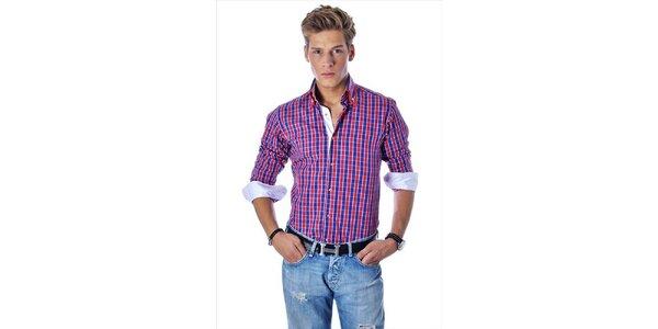 Pánská červeno-modrá kostkovaná košile Pontto