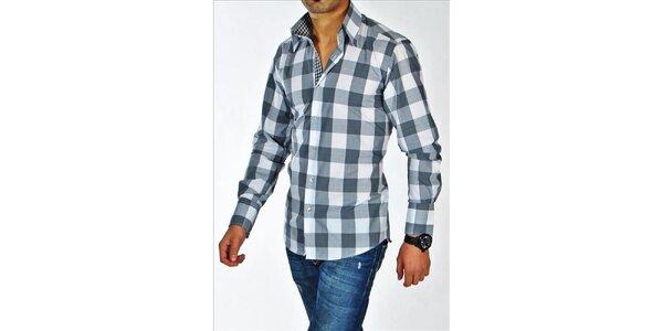 Pánská šedo-bílá kostkovaná košile z Premium kolekce Pontto