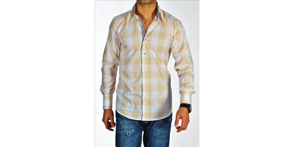 Pánská béžovo-bílá kostkovaná košile z Premium kolekce Pontto