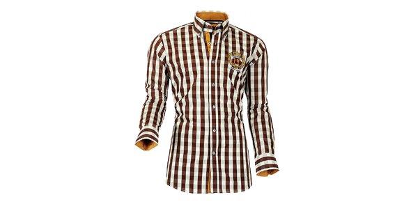 Pánská hnědo-bílá kostkovaná košile Pontto