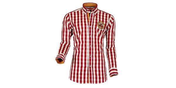 Pánská červeno-bílá kostkovaná košile Pontto