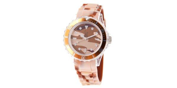 Hnědo-béžové hodinky s army vzorem Senwatch