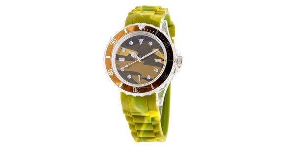 Hnědo-zelené hodinky s army vzorem Senwatch