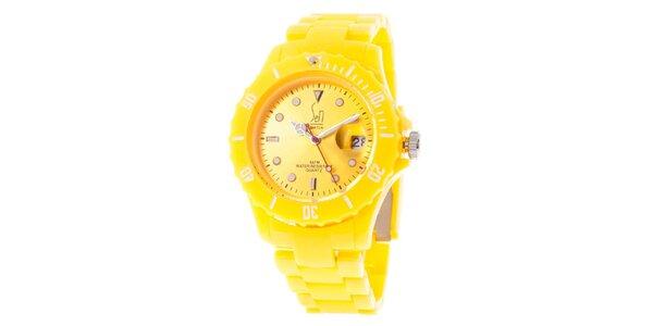 Žluté analogové hodinky s ocelovým pouzdrem Senwatch
