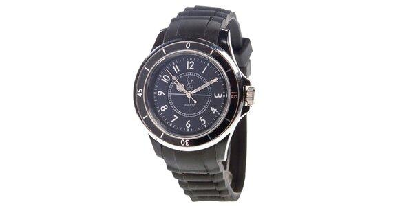 Černé analogové hodinky s luminiscenčními ručičkami Senwatch