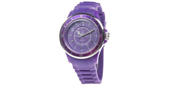 Fialové analogové hodinky s luminiscenčními ručičkami Senwatch