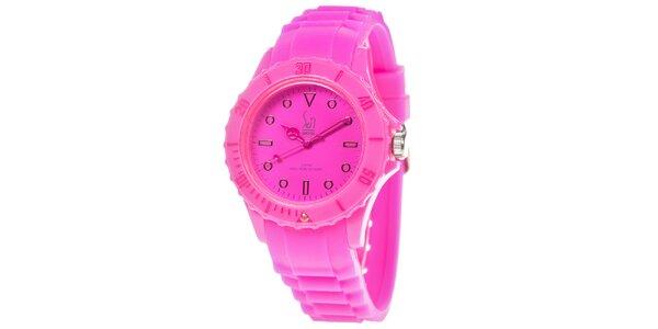 Růžové analogové hodinky s minerálním sklíčkem Senwatch