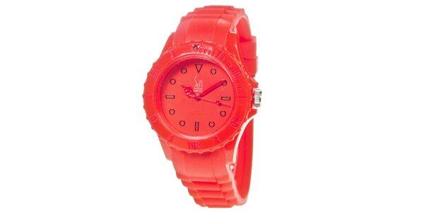 Červené analogové hodinky s minerálním sklíčkem Senwatch