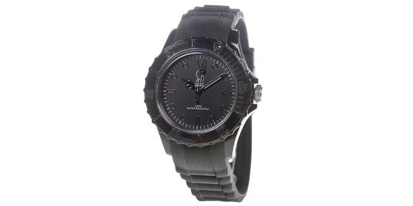 Černé analogové hodinky s minerálním sklíčkem Senwatch