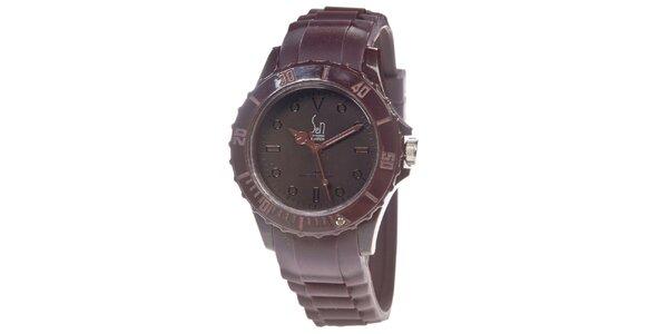 Hnědé analogové hodinky s minerálním sklíčkem Senwatch
