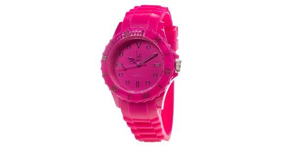 Malinové analogové hodinky s minerálním sklíčkem Senwatch