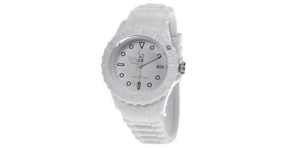 Bílé analogové hodinky Senwatch