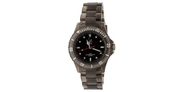 Černé hodinky s transparentním řemínkem Senwatch