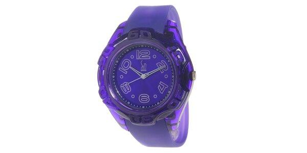 Fialové analogové hodinky s ocelovým pouzdrem Senwatch
