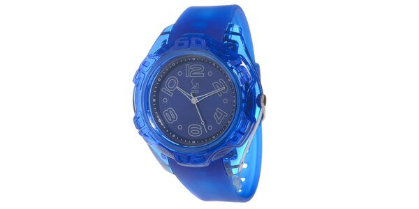 Modré analogové hodinky s ocelovým pouzdrem Senwatch