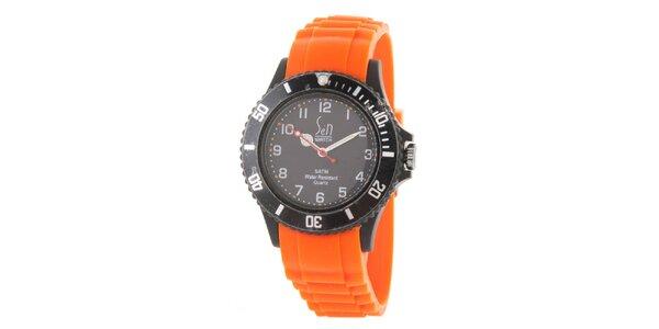 Černo-oranžové analogové hodinky Senwatch