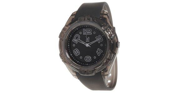 Černé analogové hodinky s ocelovým pouzdrem Senwatch