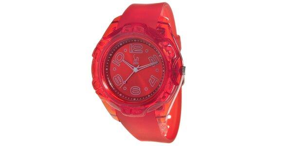 Červené analogové hodinky s ocelovým pouzdrem Senwatch
