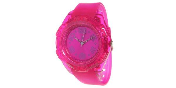 Růžové analogové hodinky s ocelovým pouzdrem Senwatch