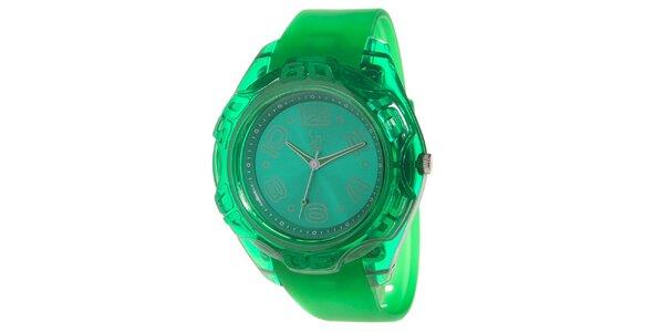 Zelené analogové hodinky s ocelovým pouzdrem Senwatch