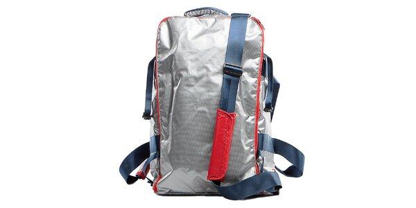 Stříbrný cestovní batoh s červenými lemy Tommy Hilfiger