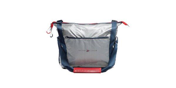 Stříbrná cestovní taška přes rameno Tommy Hilfiger