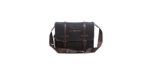 Černá taška přes rameno koženými lemy Tommy Hilfiger