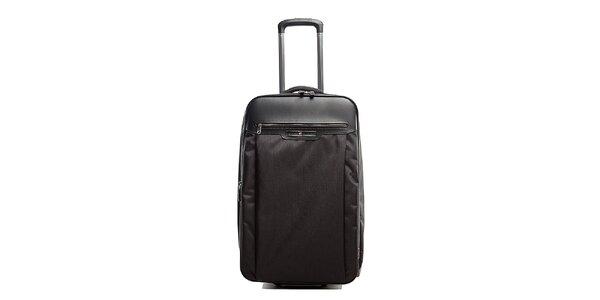 Větší černý kufr na kolečkách Tommy Hilfiger s kontrastním vnitřkem