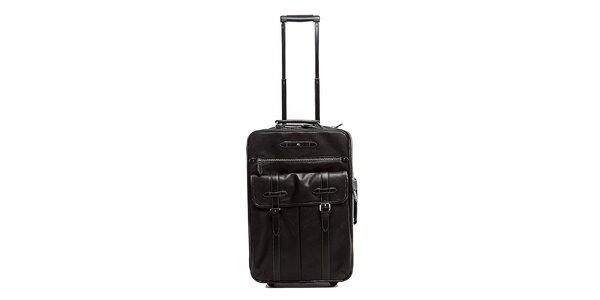 Černý kožený kufr na kolečkách Tommy Hilfiger