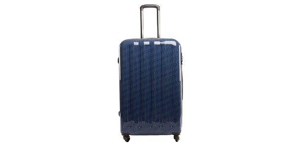 Velký modrý kufr s červeným vnitřkem Tommy Hilfiger
