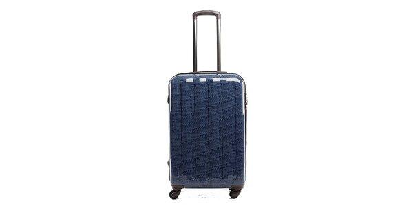 Větší modrý cestovní kufr s červeným vnitřkem Tommy Hilfiger