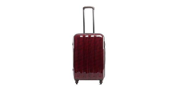 Větší červený cestovní kufr s šedým vnitřkem Tommy Hilfiger
