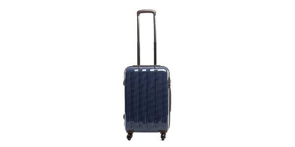 Střední modrý cestovní kufr s červeným vnitřkem Tommy Hilfiger