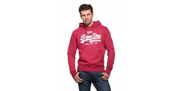 Pánská červená mikina Superdry s kapucí