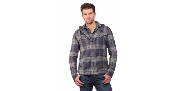 Pánská šedo modrá kostkovaná košile Superdry s kapucí