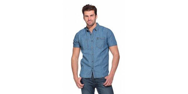 Pánská světle modrá džínová košile Superdry s krátkým rukávem