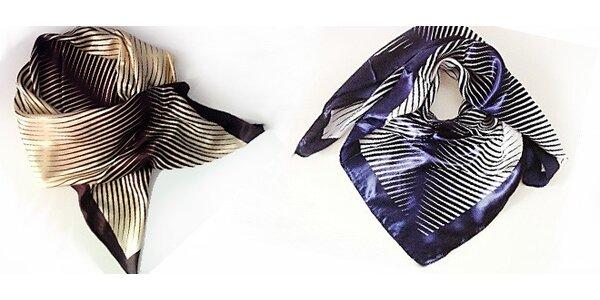 Krásný saténový šátek ve dvou trendy barevných provedeních je jako stvořený pro…