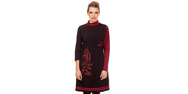 Dámské černo-červené úpletové šaty s proužky Missing Johnny