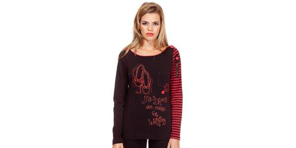 Dámské černo-červené tričko s potiskem Missing Johnny