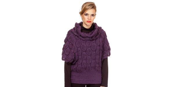 Dámský fialový svetr s pletenými ozdobami Missing Johnny