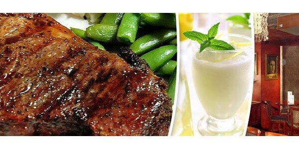 Dva argentinské rib-eye steaky, červené víno a sorbet