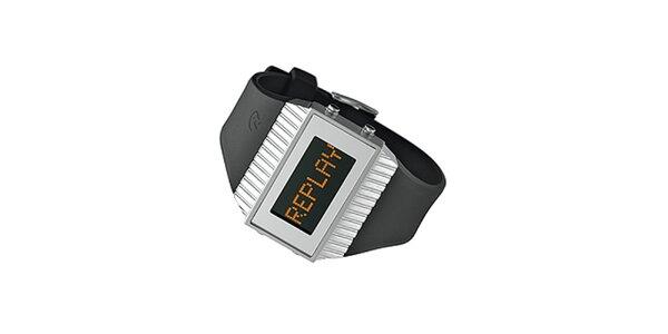Černo-stříbrné digitální hodinky Replay