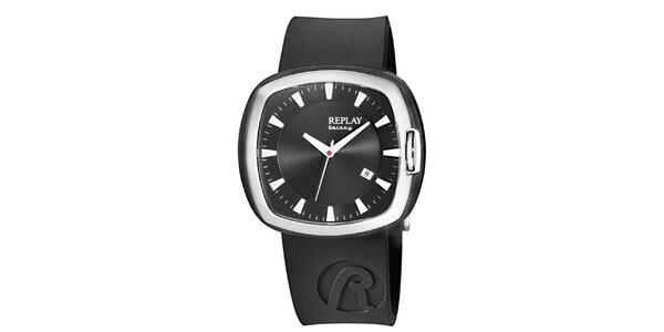 Černé analogové hodinky Replay s hranatým displejem