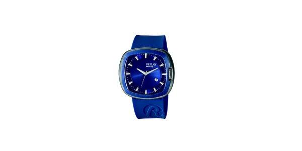 Modré analogové hodinky Replay s hranatým displejem