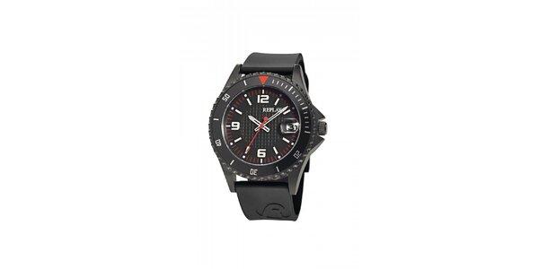 Černé analogové hodinky Replay s datumovkou